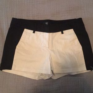 White/ black color block shorts